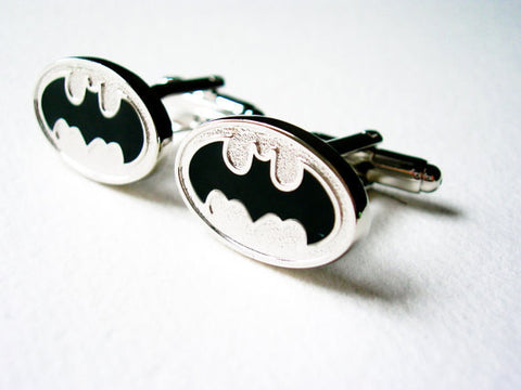 Batman Cuff Links - stainless steel and black - 1 pair - BUY ONE GET 2 FREE - MIX AND MATCH