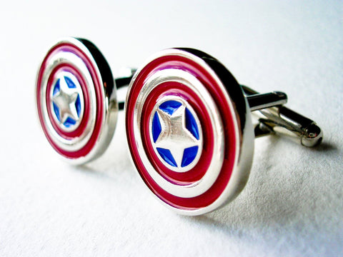 Captain America Cufflinks - Stainless steel - 1 pair