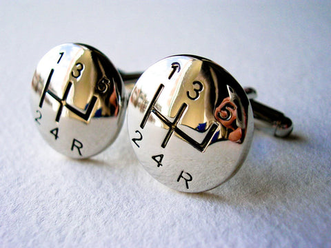 5-Speed Gear Shift Cuff Links - Stainless steel