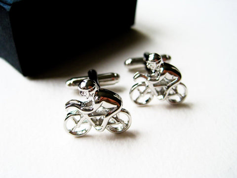 Racing Bicycle Cufflinks - stainless steel