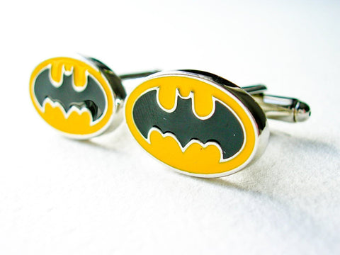 Batman Cuff Links - stainless steel black and yellow - 1 pair - BUY ONE GET 2 FREE - MIX AND MATCH