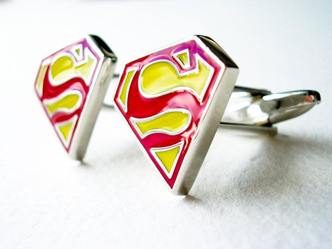 Superman Cuff Links - Stainless steel red and yellow - 1 pair - BUY ONE GET 2 FREE - MIX AND MATCH