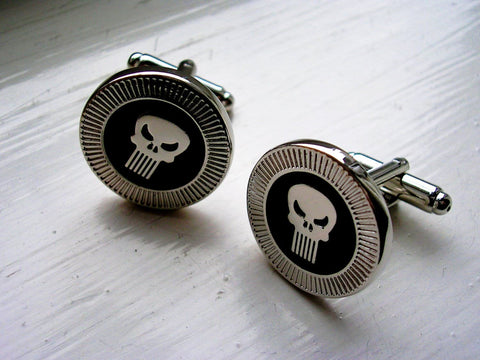 The Punisher Cuff links  - stainless steel - 1 pair - BUY ONE GET 2 FREE - MIX AND MATCH