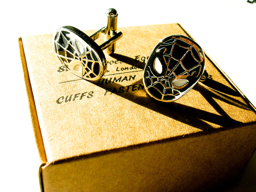 Spider Man Cufflinks - stainless steel and black - 1 pair - BUY ONE GET 2 FREE - MIX AND MATCH