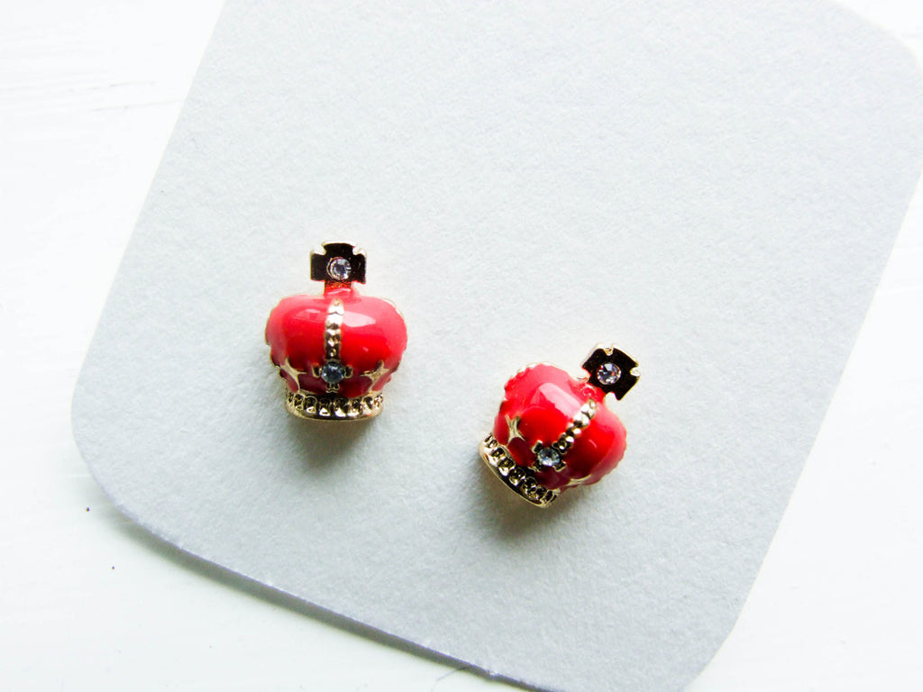 British crown earrings, Jubilee studs, red