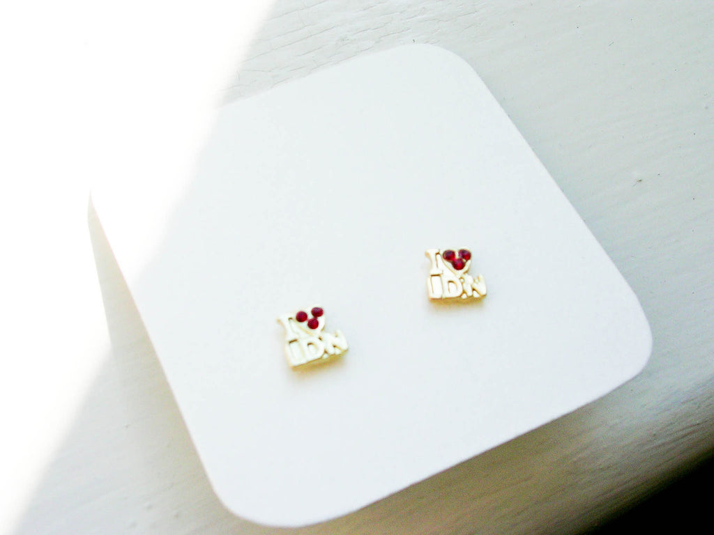 Love London earrings, Olympics British London studs, red and golden color
