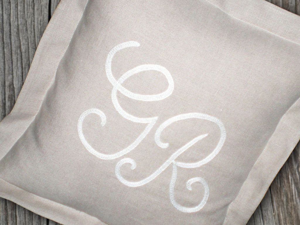 Italian pillow hand embroidered initials warm gray linen personalized gift