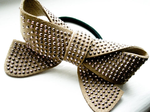 Leather bowtie hair band beige color silver dots