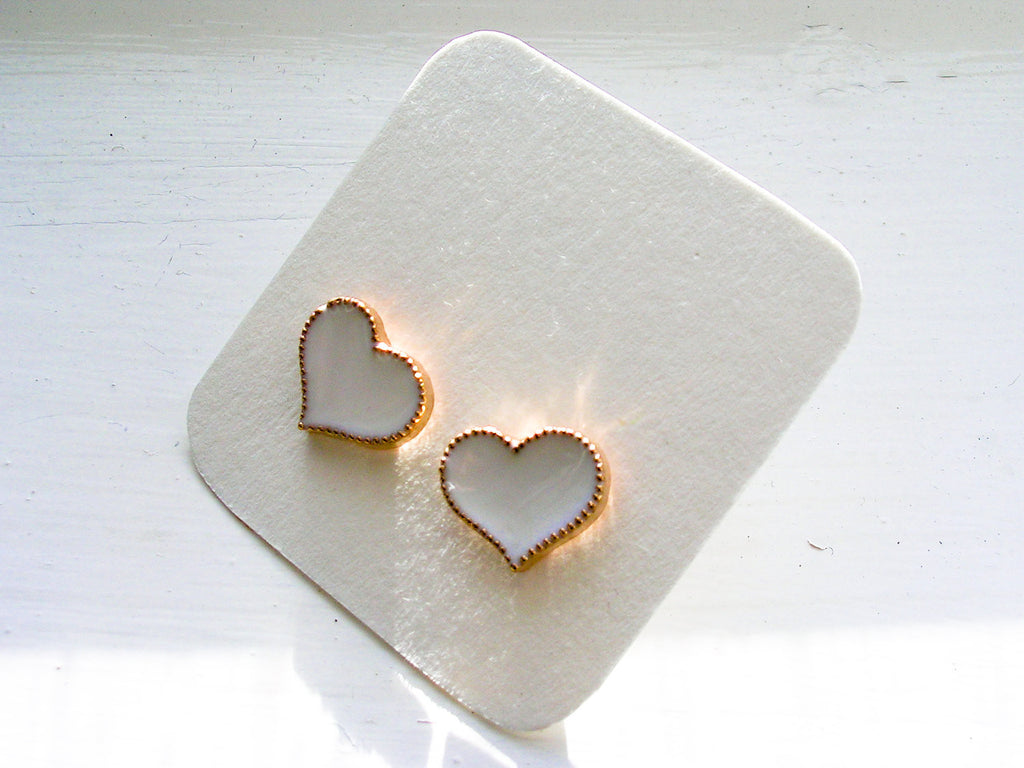 Heart earrings white studs enamel