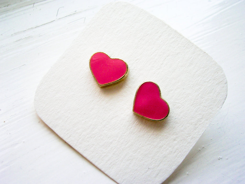 Heart earrings pink studs enamel