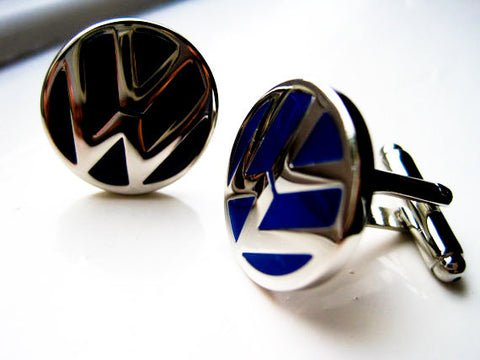 Silver and Blue VW Cufflinks - Stainless steel