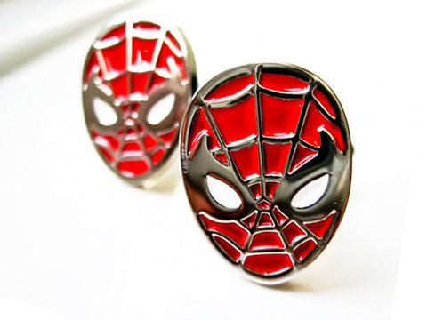 Spider Man Cufflinks - stainless steel and red - 1 pair