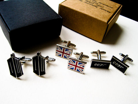 British cufflinks - 3 pairs of stainless steel Dr Who 007 Union Jack cufflinks