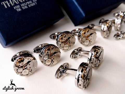 Wedding party Watch mechanism Cufflinks set of 6 for groomsmen gifts with 6 boxes