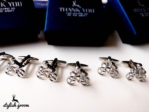 Wedding party Bike Cufflinks set of 6 for groomsmen gifts with 6 boxes