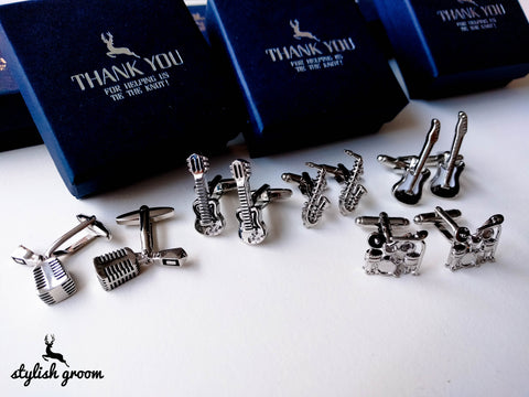 Wedding party Musical Instruments Cufflinks set of 5 for groomsmen gifts with 5 boxes