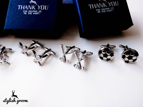 Wedding party Sports Cufflinks set of 5 for groomsmen gifts with 5 boxes