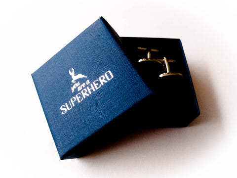 Gift set of 1 pair of Superheroes Cufflinks - stainless steel - You are a SUPERHERO