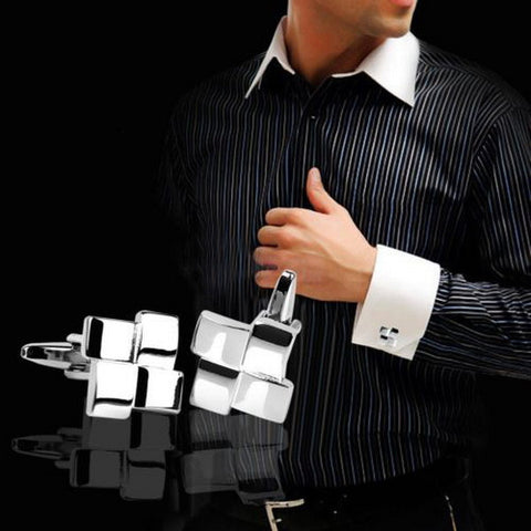 Geometric Contemporary Silver Cufflinks