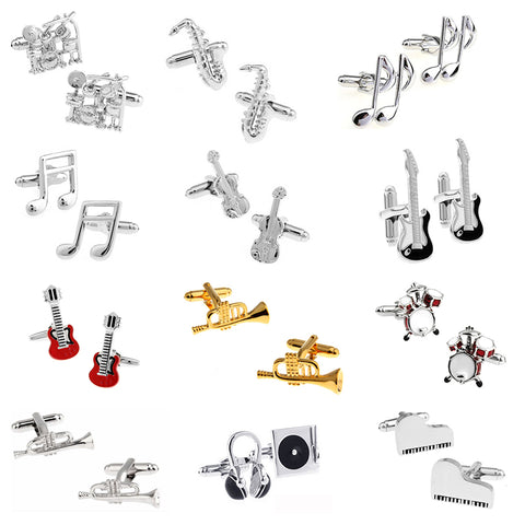 Cufflinks Musical instruments Piano Guitar Saxophone Trump Drums Note Music Novelty Cufflinks