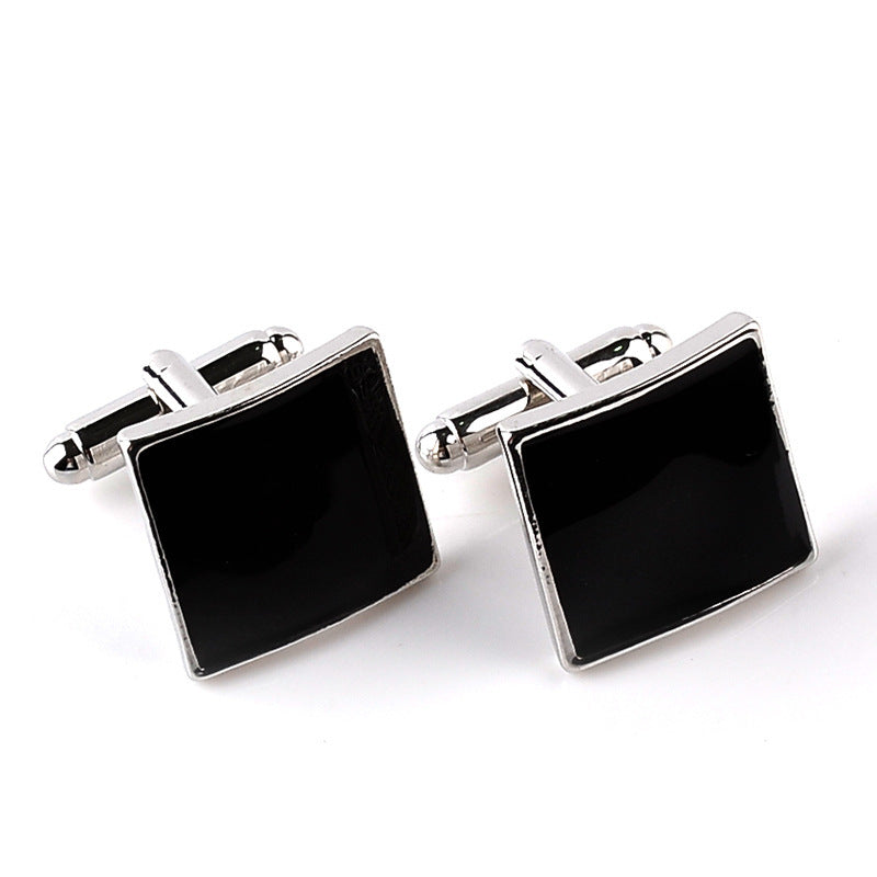 High Quality Classic Luxury Silver Black Enamel Square contemporary Cufflinks
