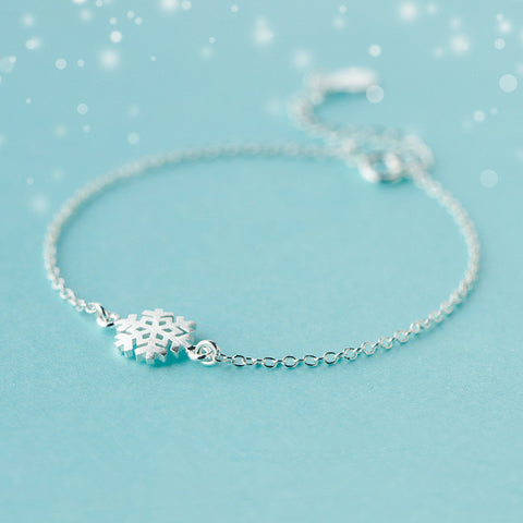 """Pure Love"" 925-sterling-silver Snowflake Charm Bracelet Bridesmaids"