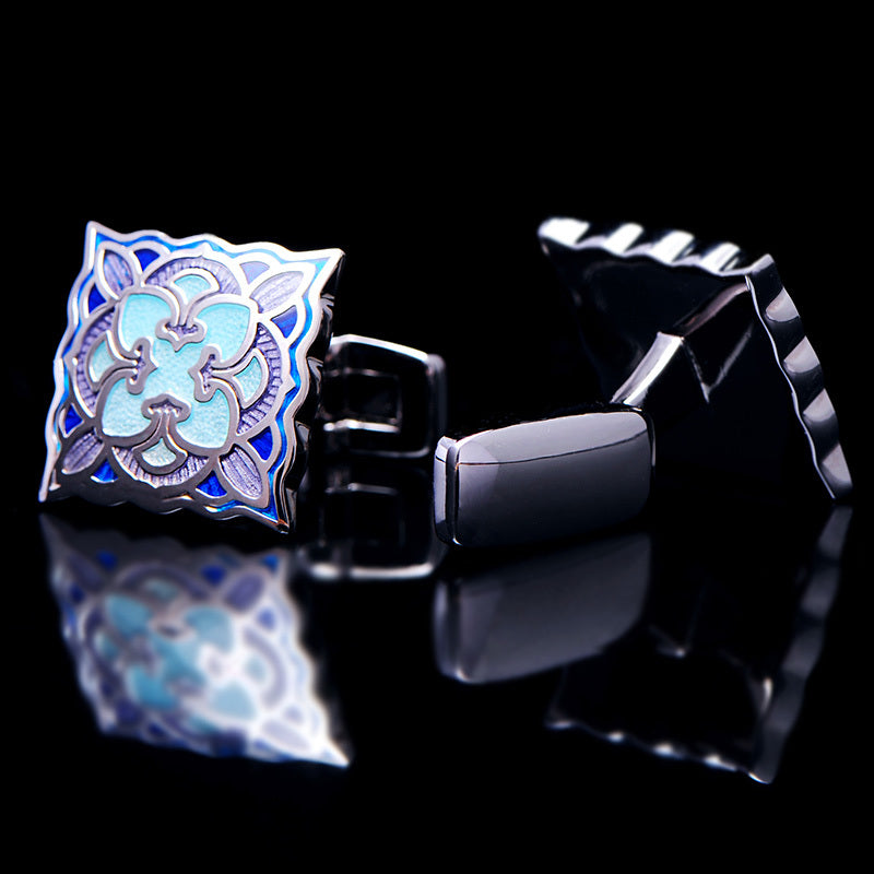 Cufflinks Blue enamel contemporary