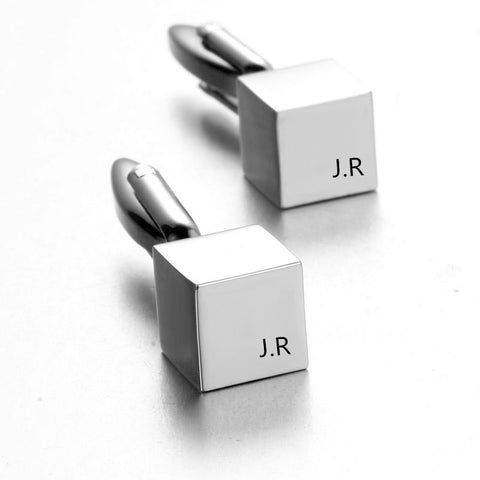 Square Monogrammed CuffLinks Groomsmen Gift Personalized Engraved