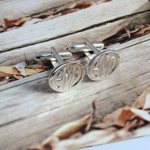 Silver Men CuffLinks Engraved Monogram Personalized