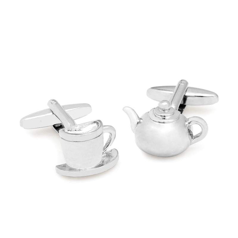 Teapot and Cup Silver Plated novelty Cufflinks