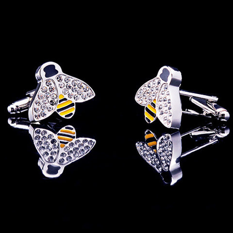 Brand Crystal Bee Elegant Cufflinks