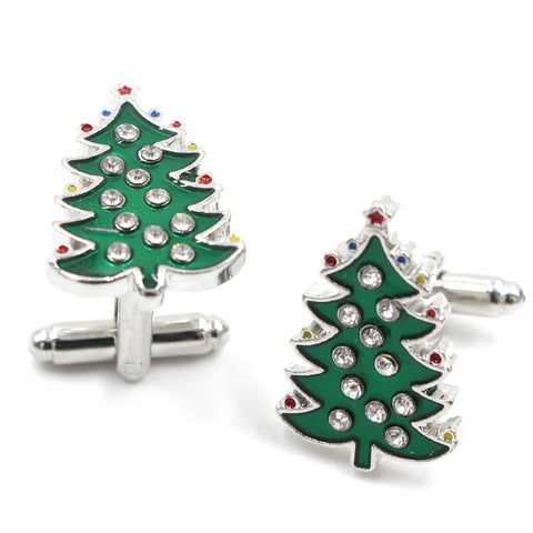 Green Enamel Crystal Christmas Trees novelty Cufflinks