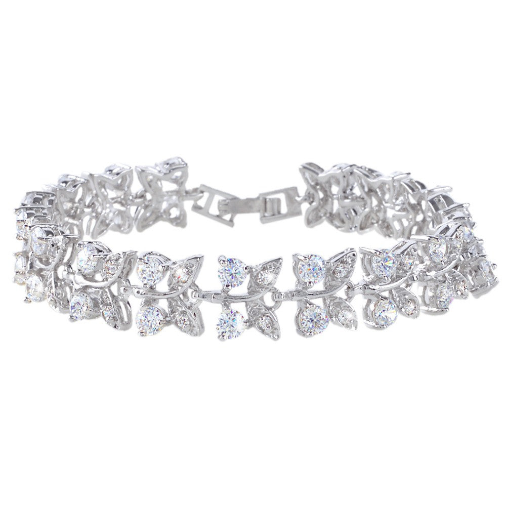Silver Plated Flower Leaf Bracelet Crystal Cubic Zircon Bracelet for Bridesmaids