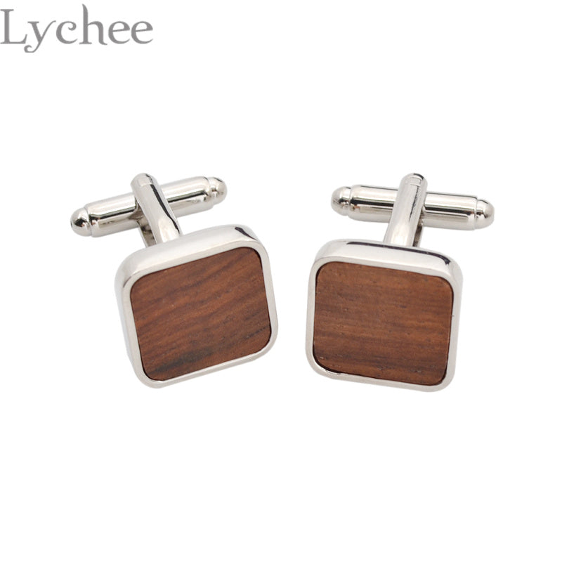 Trendy Wood Cufflinks Square Shape Contemporary