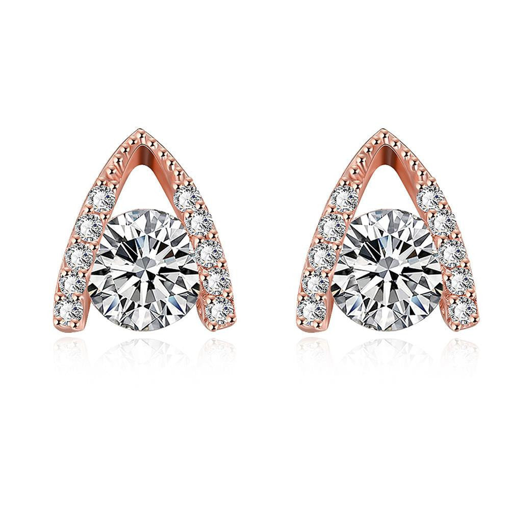 Rose Gold Plated Triangular Drop Studs