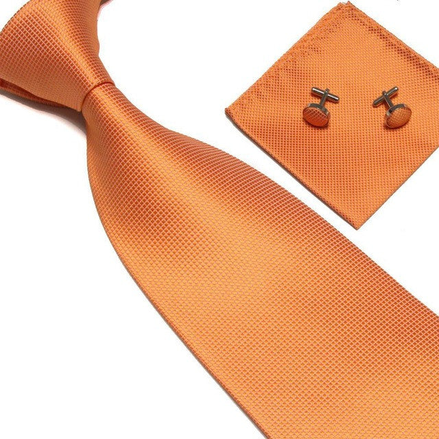 Contemporary style handcherchief, tie and cufflinks set