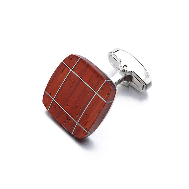 Luxury Wood Cufflinks Square Rosewood