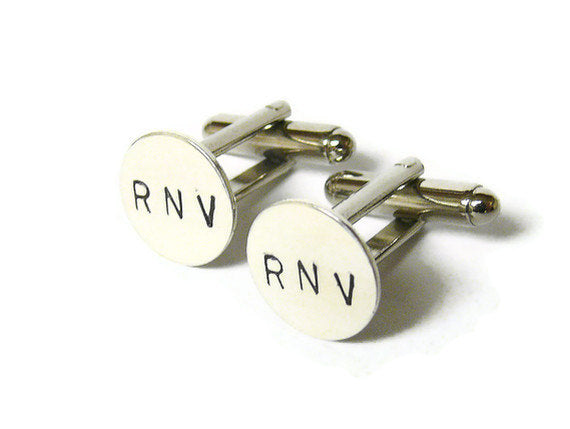 Custom Cufflink Silver Plated Personalized Monogram