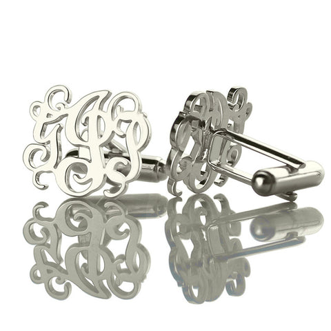 Sterling Silver Monogram Cufflinks Cut Out Monogrammed Personalized Initials