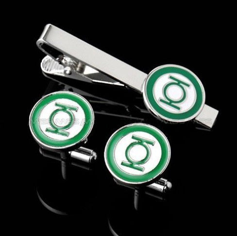 Tie Clips & Cufflinks Set - Green lantern