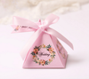 100 x Creative Pink / Purple / Blue Floral Triangular Pyramid Wedding Favors Candy Boxes