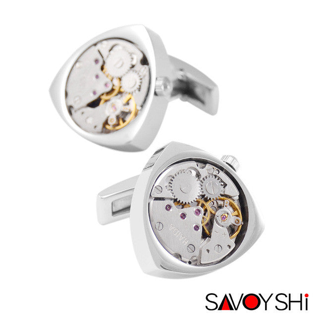 Classic Steampunk Shirt Stainless Steel Watch Movement Cufflinks