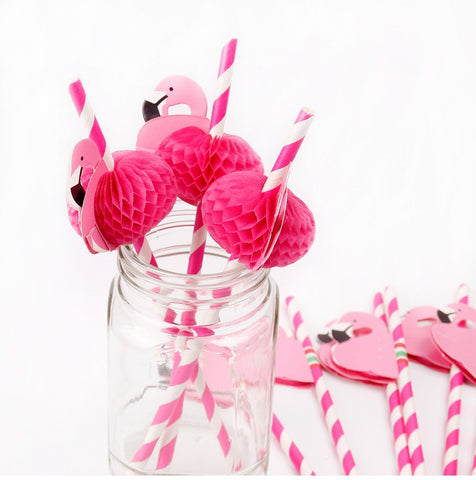 12pcs Flamingo Paper Drinking Straws Wedding Decoration