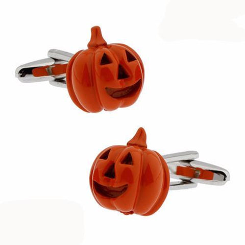 Orange Pumpkin Halloween Cufflinks 2 Pairs novelty