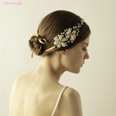 Golden Rhinestone Pearl Hair Jewelry Floral Bridal Headband