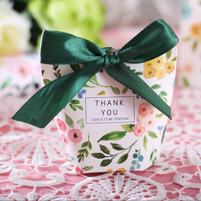 Wedding Favor Candy | 50 Pcs Green Floral Thank You Wedding Favors Candy Boxes Stylish