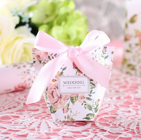 50 Pcs Pink Floral Printed Wedding Favors Candy Boxes