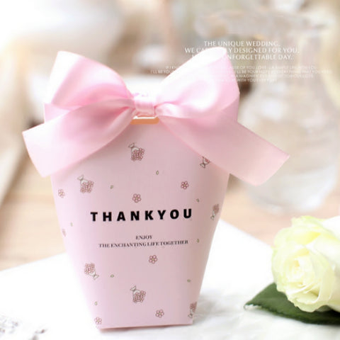 50 Pcs Wedding favors paper pink candy boxes with ribbons