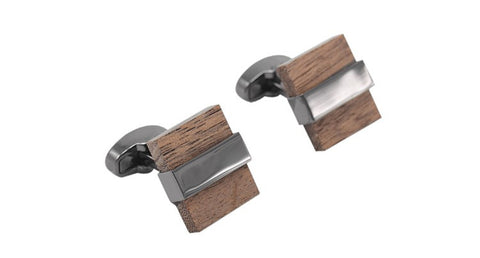 Luxury Wood Contemporary Cufflinks Square High Quality Brown Silver