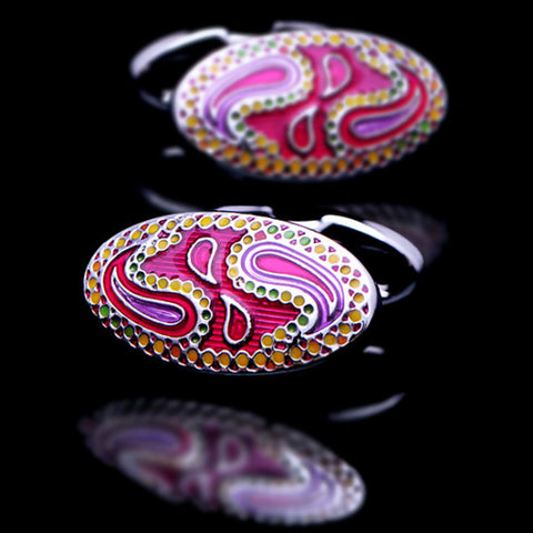 Pink yellow purple enamel oval elegant cufflinks